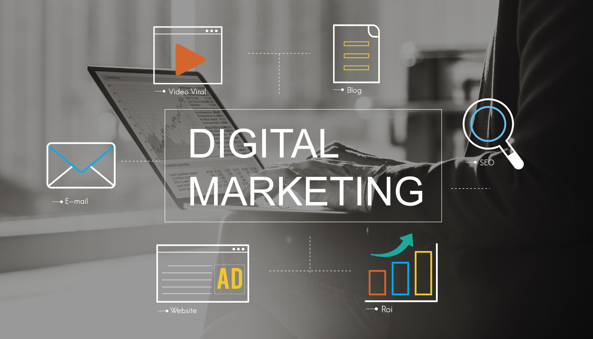 digital marketing text and icons