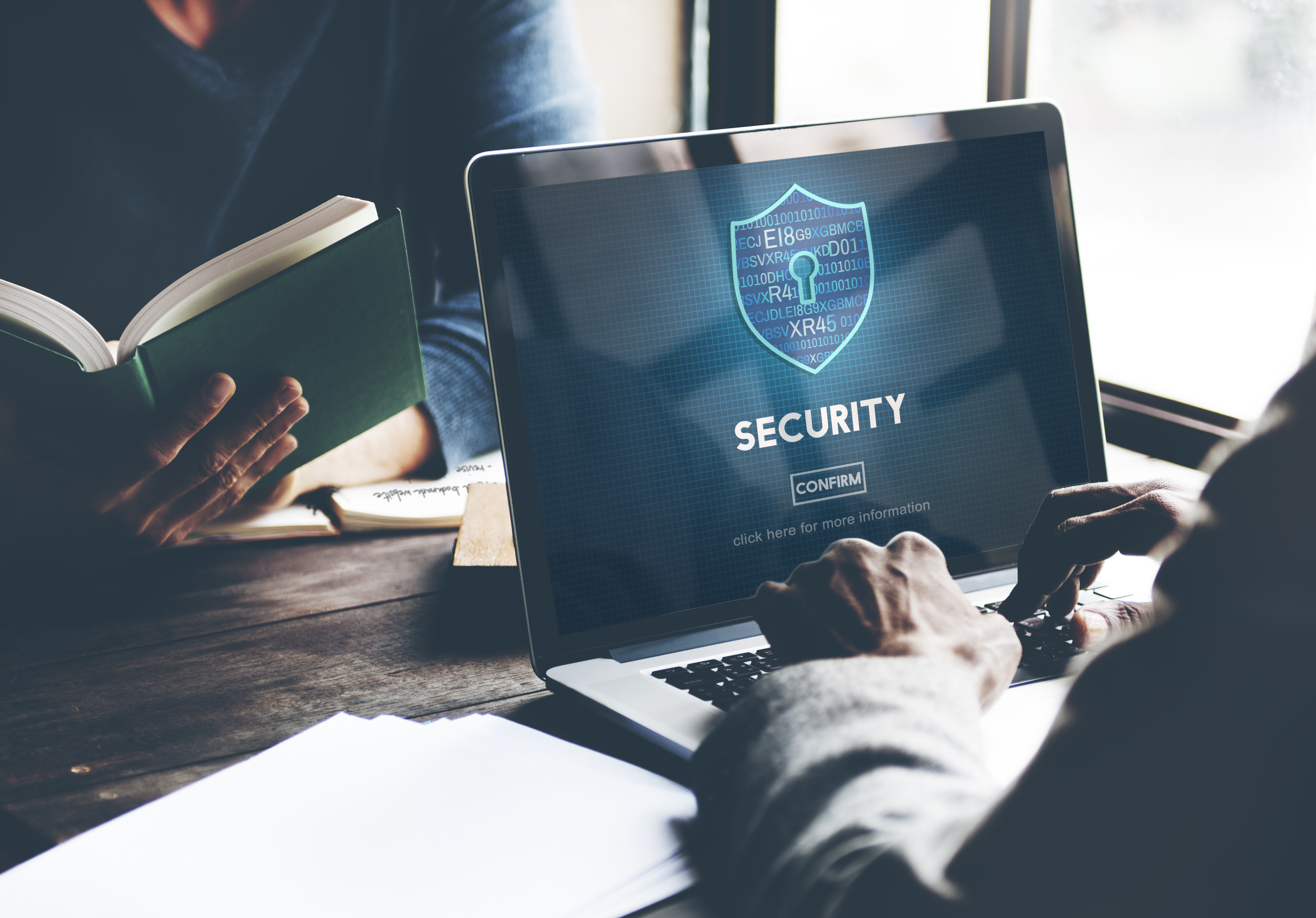 security on website on laptop screen
