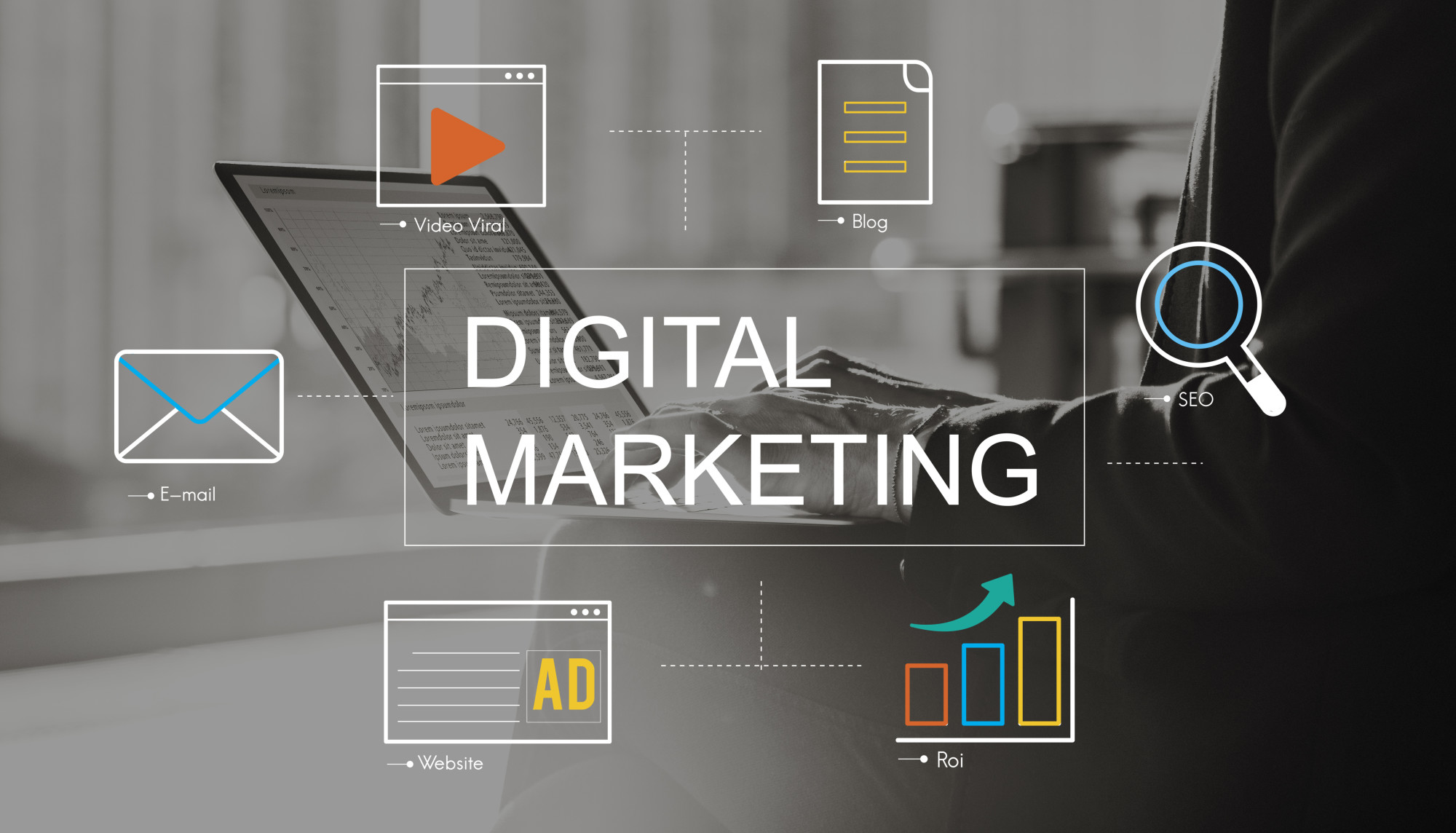 digital marketing text with icons