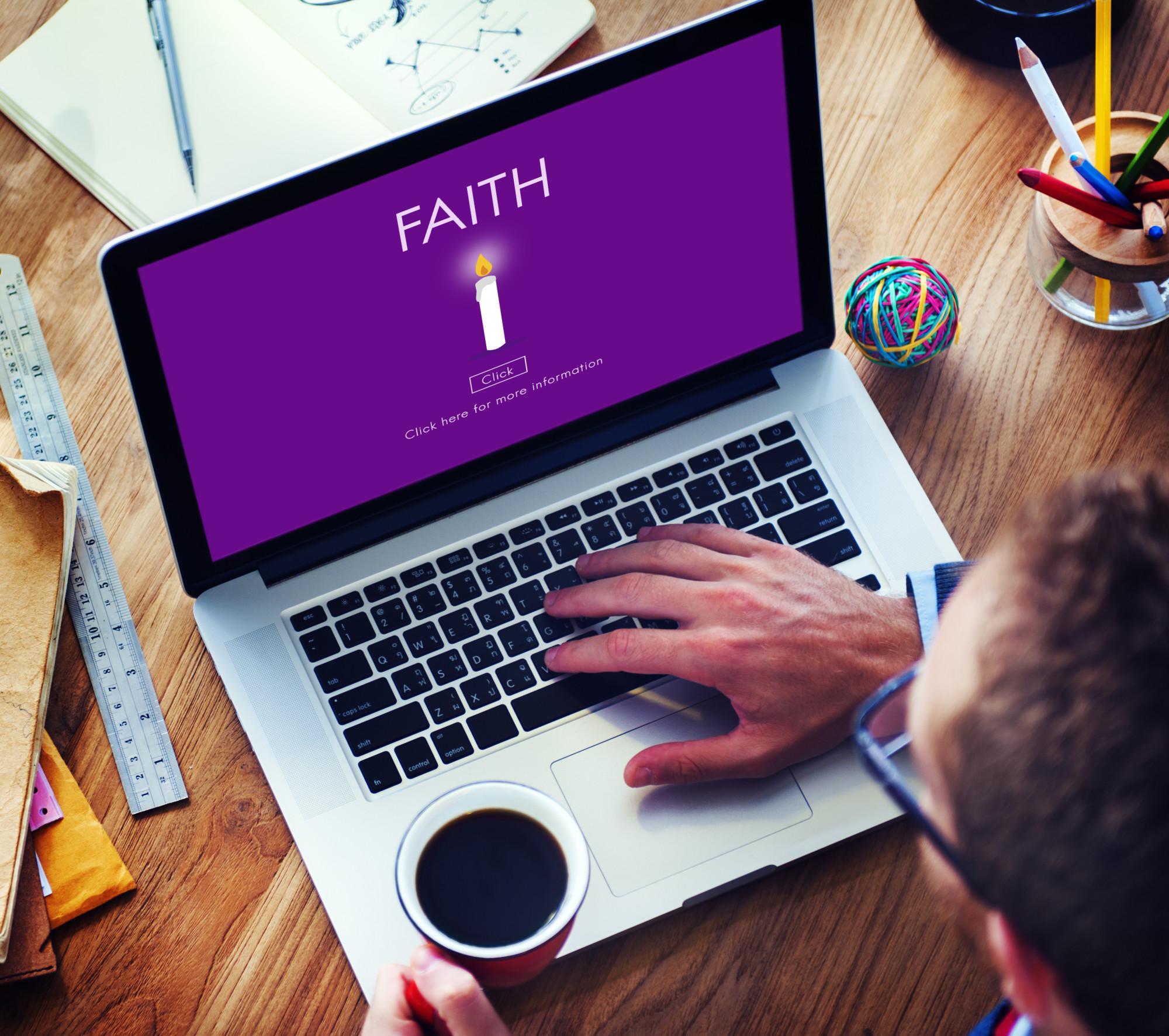 faith on laptop