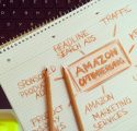 amazon marketing terms on notebook