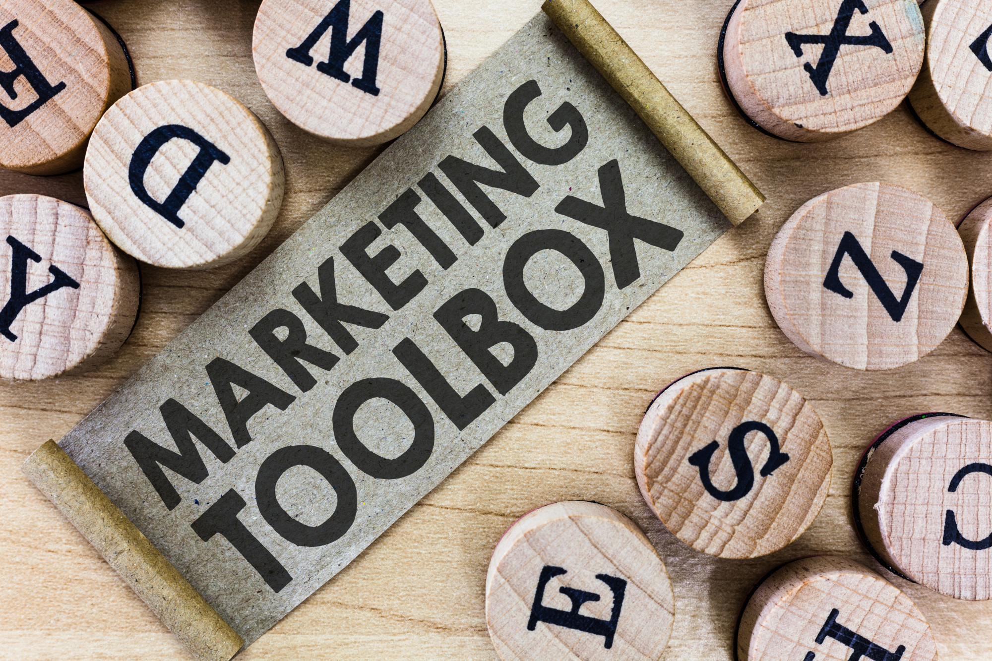 marketing toolbox and stamps