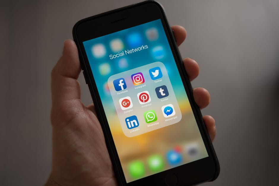 social media icons on mobile phone