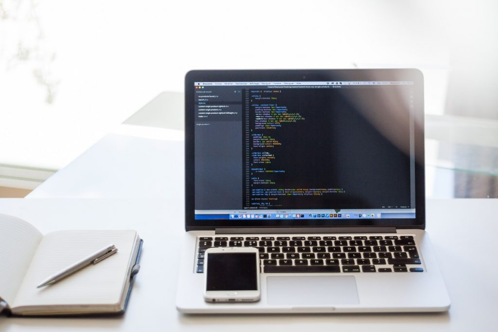 HTML editor on laptop