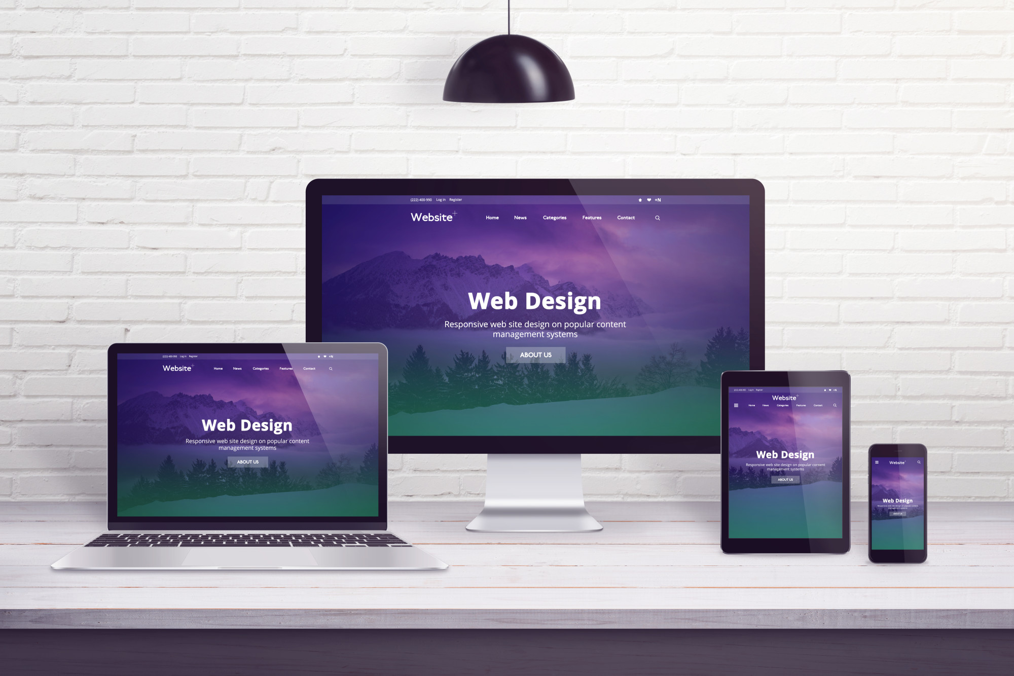 web design screens on multiple devices